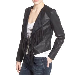 Collection B Black Faux Leather Jacket with Fringe